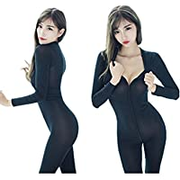 Happyjiu New Open Crotch Striped Sheer Body Stocking Bodysuit Sexy Lingerie for Women Smooth Fiber Double Zipper Long Sleeves