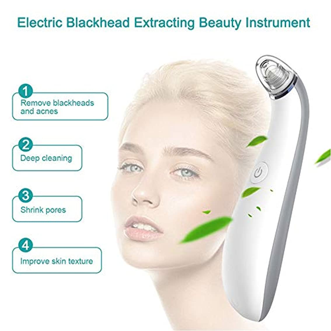 危険にさらされている楽しいインフレーション気孔の真空の深くきれいな、皮膚健康のための電気顔の安定した吸引のスキンケア用具4取り替え可能な吸引の頭部USB再充電可能