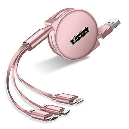 CAFELE 巻き取り式 3in1 充電ケーブル Type-C/Micro USB対応ケーブル 同時給電可 データ転送 1.2m (ローズゴールド)