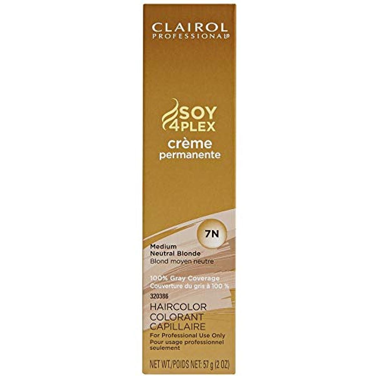振り向くモーター熱帯のClairol Professional - SOY4Plex - Creme Permanente - Medium Neutral Blonde 7N - 2 oz / 57g