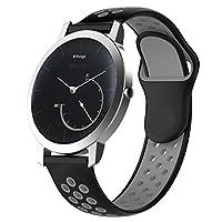 XIHAMA For Nokia Withings スチール hr Watch Band 18MM 交換ベルト 防水 運動型 シリコーンゴム 腕時計 ストラップ 替えバンド (黒/灰色)