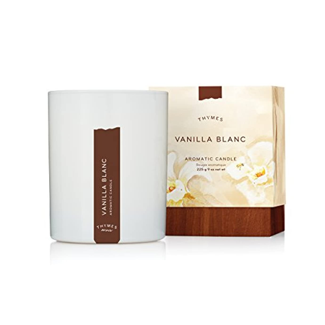 スリップシューズ撤回する座標Thymes - Vanilla Blanc Aromatic Scented Candle - Long Lasting Warm Vanilla Scent with Gift Box - 9 oz