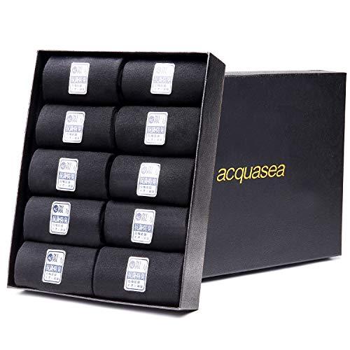 acquasea 靴下 メンズ ビジネス ソックス 黒 通気性 消臭 防臭 【銀イオン10足セット24-28cm】