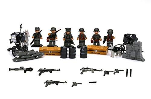 2次世界大戦ドイツ軍人とパック38、50MMアンティ・タンクガン、4バーレル、アンティエアクラフト ガトリングガン 、サンドバッグ、ブリックワール 、D93インシネレタ、戦争用の犬と馬のビューティングブロックレゴ [並行輸入品]