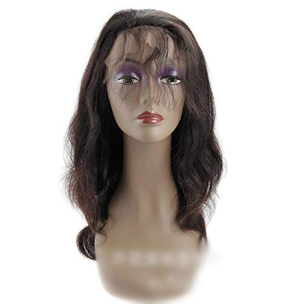 正午とても多くの輝くHOHYLLYA 360レース前頭かつらブラジルバージンヘアエクステンションボディウェーブ人間の髪の毛のかつら女性のかつら (色 : 黒, サイズ : 18 inch)
