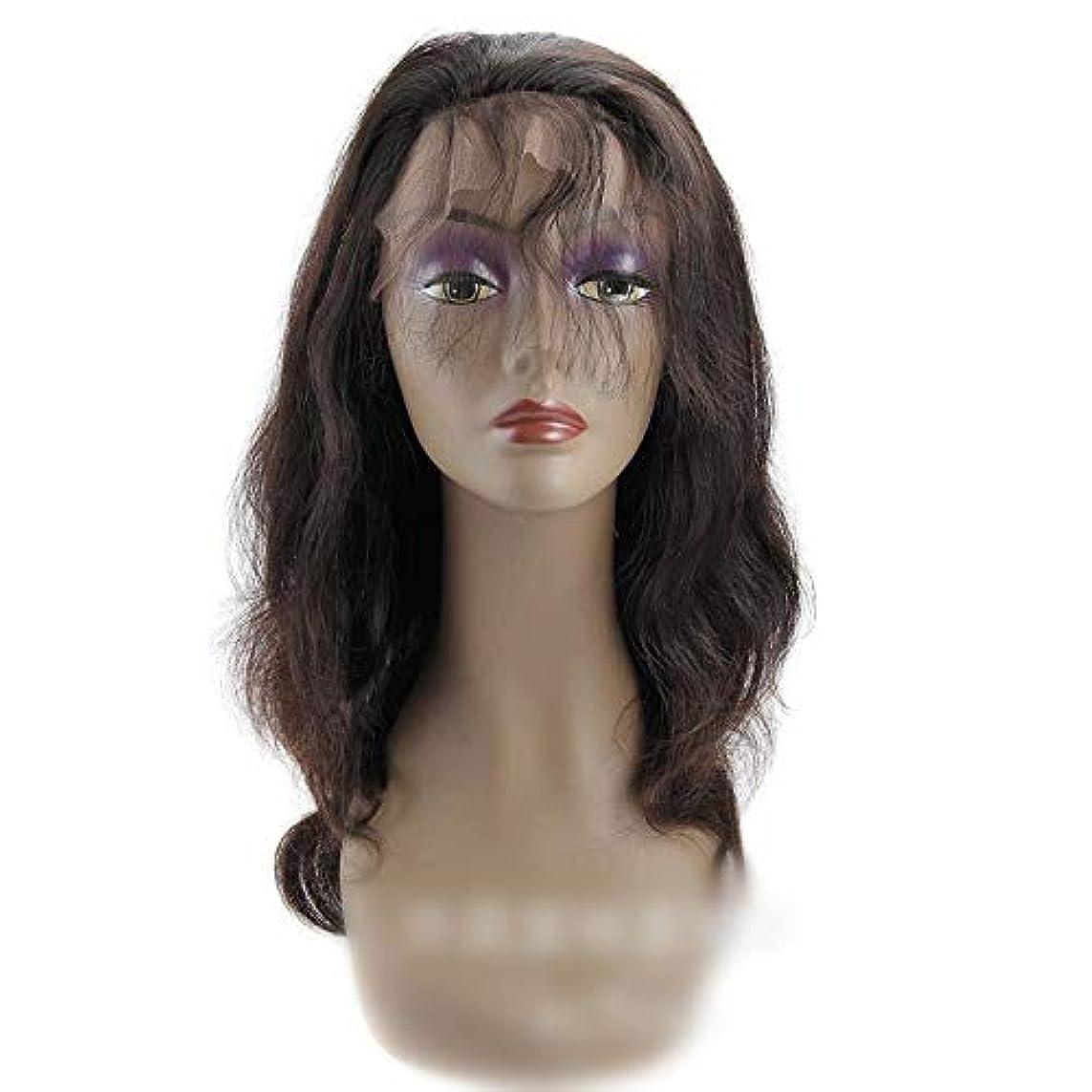 ベテラン理想的には繕うHOHYLLYA 360レース前頭かつらブラジルバージンヘアエクステンションボディウェーブ人間の髪の毛のかつら女性のかつら (色 : 黒, サイズ : 18 inch)