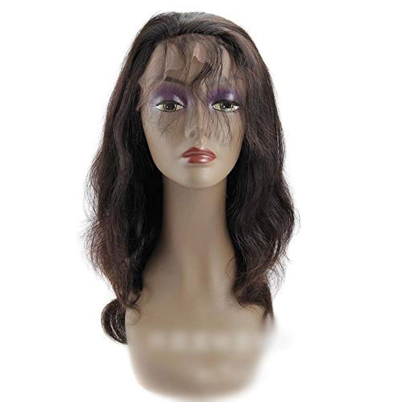 傑作アクセル将来のHOHYLLYA 360レース前頭かつらブラジルバージンヘアエクステンションボディウェーブ人間の髪の毛のかつら女性のかつら (色 : 黒, サイズ : 18 inch)