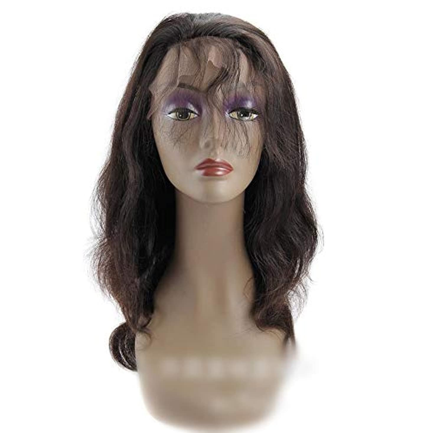 神決定トイレWASAIO 360個のレースの前頭かつらヘアエクステンションクリップ女性のためのUnseamed髪型ブラジルのバージンボディウェーブ人間ウィッグ (色 : 黒, サイズ : 10 inch)