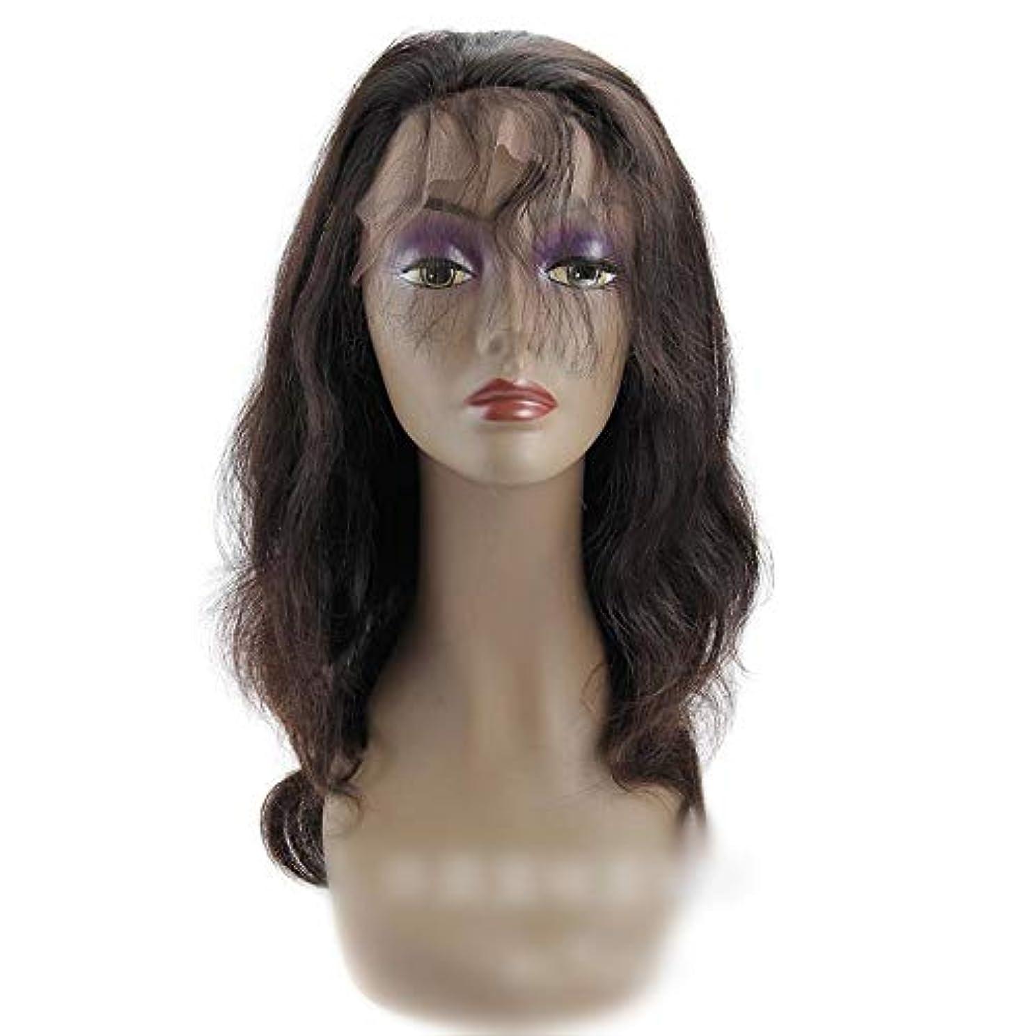 育成本質的ではない霧深いHOHYLLYA 360レース前頭かつらブラジルバージンヘアエクステンションボディウェーブ人間の髪の毛のかつら女性のかつら (色 : 黒, サイズ : 18 inch)