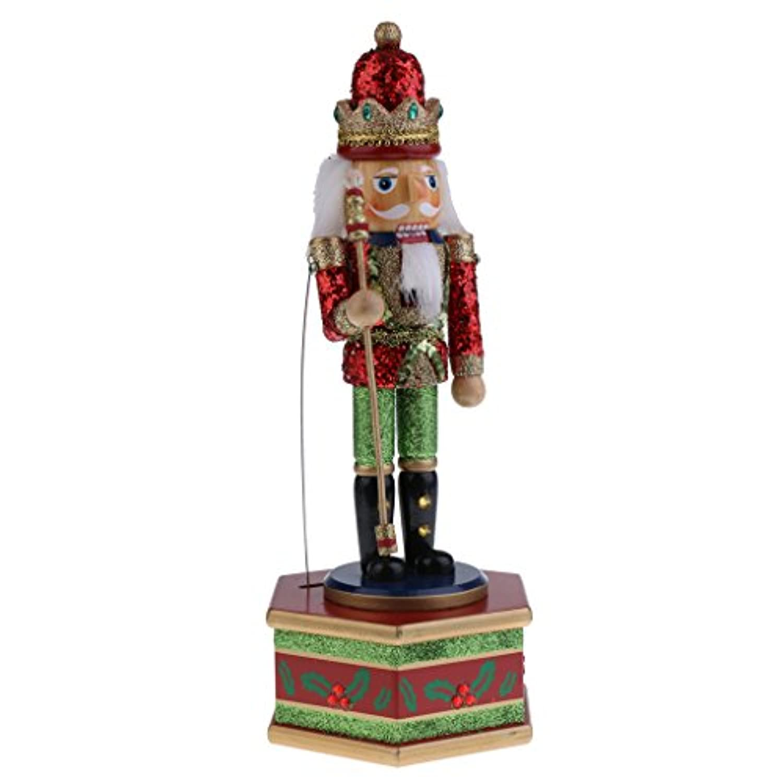 MagiDeal 32 cmレトロ風Up木製Nutcracker King Soldier Clockwork Musicボックスおもちゃホームパーティークリスマス装飾デスクトップアクセサリクリスマスギフト