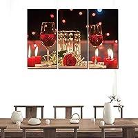 キッチンウォールアートキャンバス絵画3パネル赤ワイングラスポスターとプリントバーダイニングルームの装飾写真-30x60cmx3なしフレーム