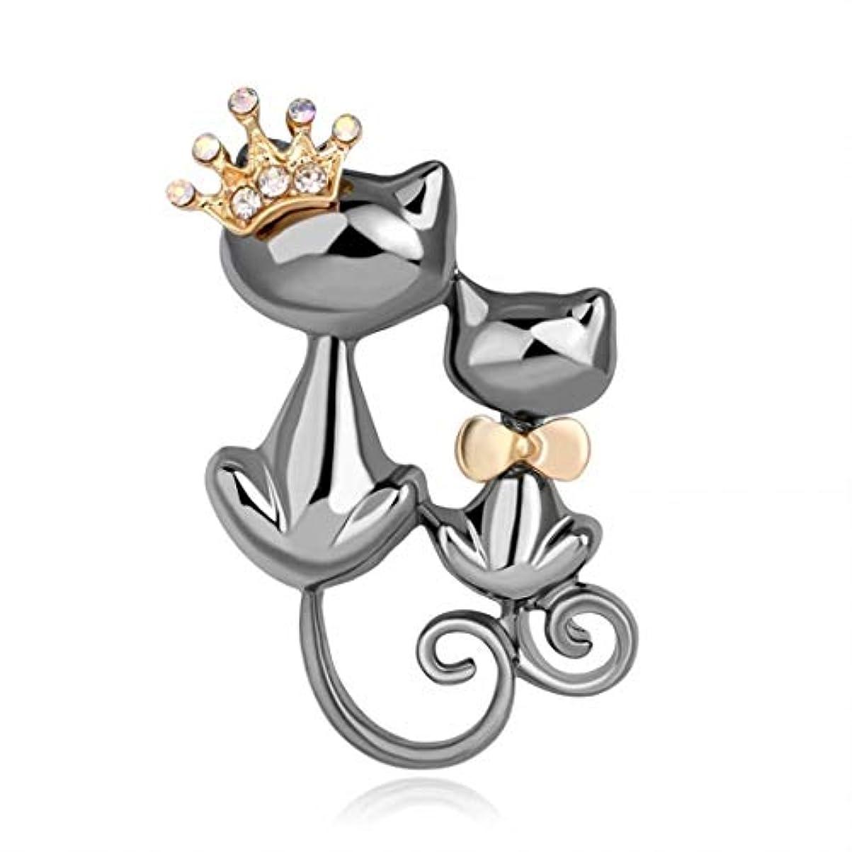 雇った文スペイン七里の香 クラウン猫ブローチピンダブル猫ちゃんCatブローチアクセサリー女性用