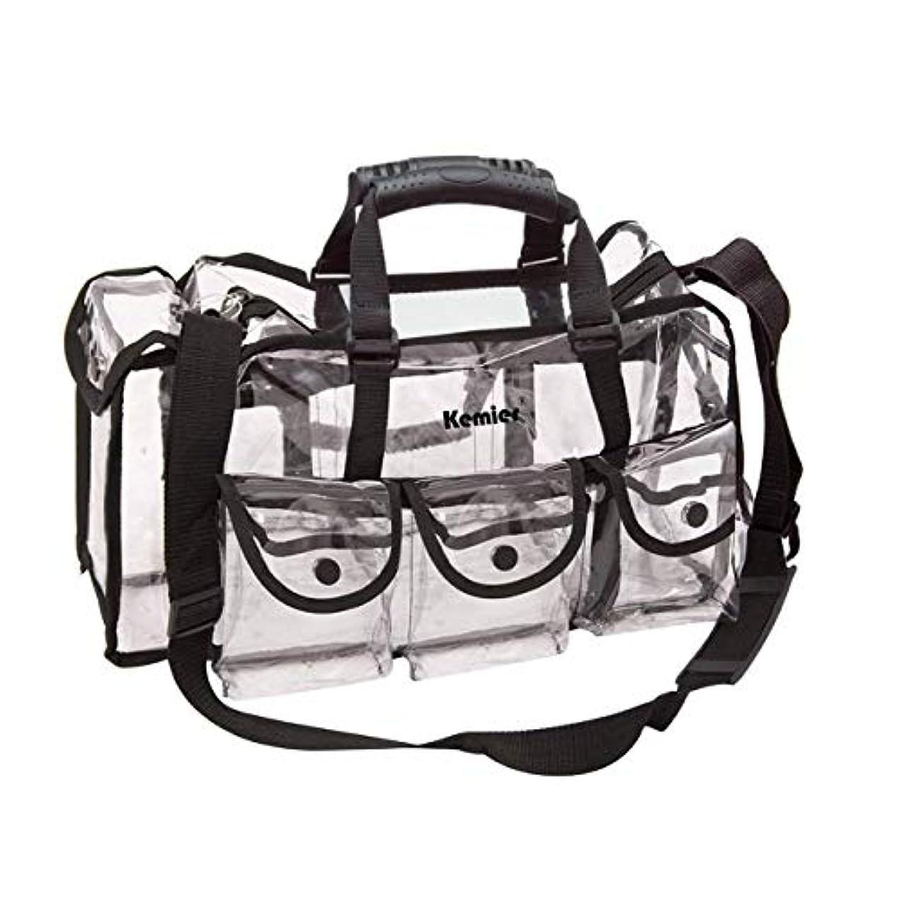 質量高齢者内側Kemier 透明 ハンドバッグ 機能的 コスメポーチ メイクポーチ メイクケース 小物入れ 化粧道具 整理整頓 軽量 防水 旅行 小物入れ 6つの外側ポケット付き