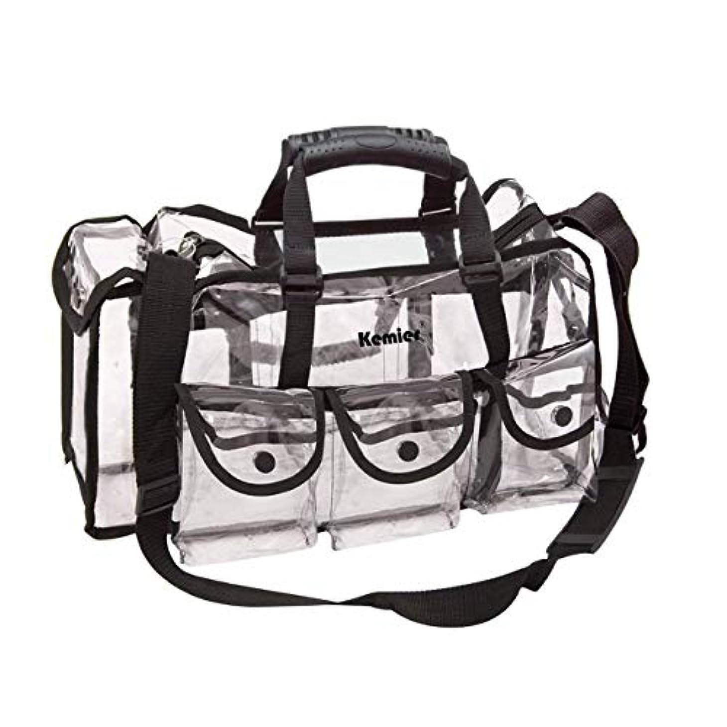 Kemier 透明 ハンドバッグ 機能的 コスメポーチ メイクポーチ メイクケース 小物入れ 化粧道具 整理整頓 軽量 防水 旅行 小物入れ 6つの外側ポケット付き