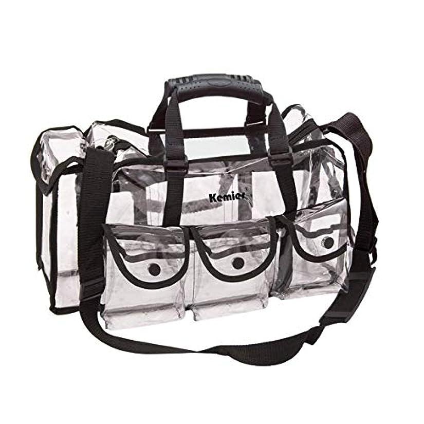 コロニアル猫背ナイロンKemier 透明 ハンドバッグ 機能的 コスメポーチ メイクポーチ メイクケース 小物入れ 化粧道具 整理整頓 軽量 防水 旅行 小物入れ 6つの外側ポケット付き