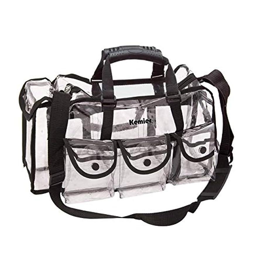 社交的内部活性化Kemier 透明 ハンドバッグ 機能的 コスメポーチ メイクポーチ メイクケース 小物入れ 化粧道具 整理整頓 軽量 防水 旅行 小物入れ 6つの外側ポケット付き