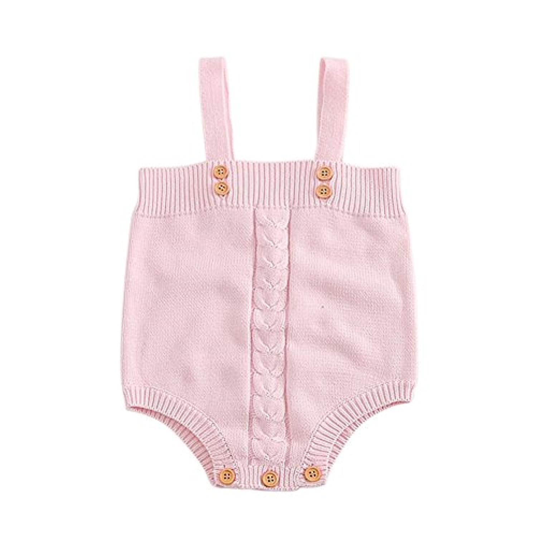 Ochine ベビー服 幼児 子供服 ロンパース ニット グレー&ピンク ボタン付き 男の子 女の子 白いシャツと組み合わせ 春秋に お着替え簡単 出産祝い 6-24ヶ月に