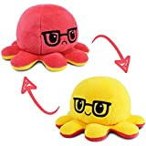 TeeTurtle | The Moody Reversible Octopus Plushie | Patented Design | Sensory Fidget Toy for Stress Relief | Red + Yellow with
