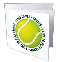 Houkデジタルデザインスポーツ–テニス–I Live to Play Tennis–テキストAroundテニスボール–グリーティングカード Set of 12 Greeting Cards