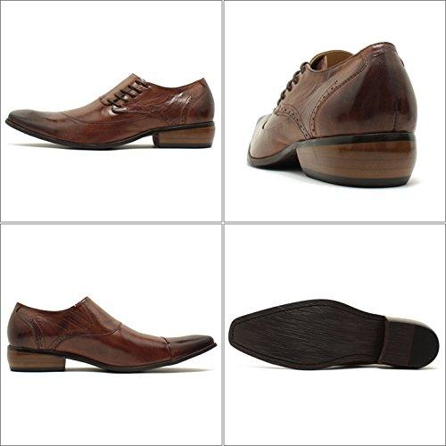 Bump N' GRIND/バンプアンドグラインド ロングノーズ・サイドレースアップ・本革ビジネスシューズ 6001 キャメルブラウンレザー スクエアトゥ/チゼルトゥ/ドレス/紐靴/革靴/仕事用/メンズ 41/25.5-26.0,CamelBrown