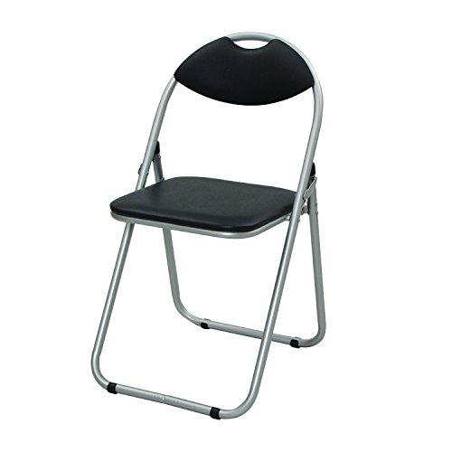 山善 パイプ椅子 折りたたみチェア 持ち運び用取っ手付き シルバー/ブラック YZX-08SB
