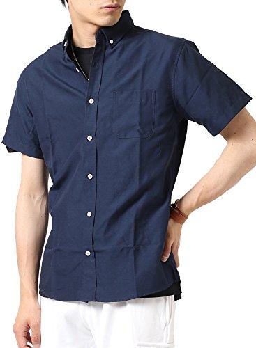 (アーケード) ARCADE メンズ 半袖シャツ オックスフォード ボタンダウンシャツ 白シャツ カジュアルシャツ M ネイビー