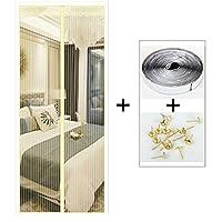 HUYYA 磁気カーテン ドア、頑丈な防虫網ドア 磁気スクリーンセルフシールベルクロアンチバグ&昆虫,Beige_56x88in/140x220CM