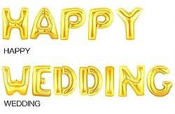[MB03]結婚おめでとう!を文字にしてみました。 HAPPY WEDDING 文字 バルーン   結婚式 披露宴 二次会 などに ハッピー ウェディング アルファベット 金 飾り