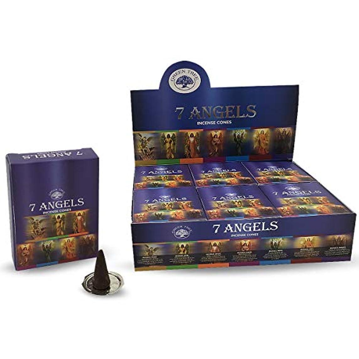 お香故意の夕暮れグリーンツリー7 Angels自然Masala Incense Cones 12ボックスof 10