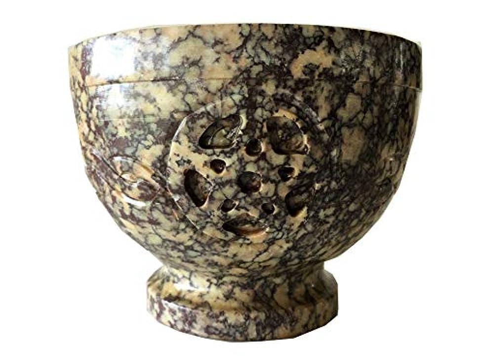 神秘的なハーフ味付けソープストーンIncense Burner Bowl / Smudgeポット/ウィッカRitual OfferingボウルケルトノットW / PENTACLE 4