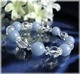 ブルーコーン 穏やかな天使の石エンジェライト&ヒマラヤ水晶ブレスレット01 約14cm~24cm
