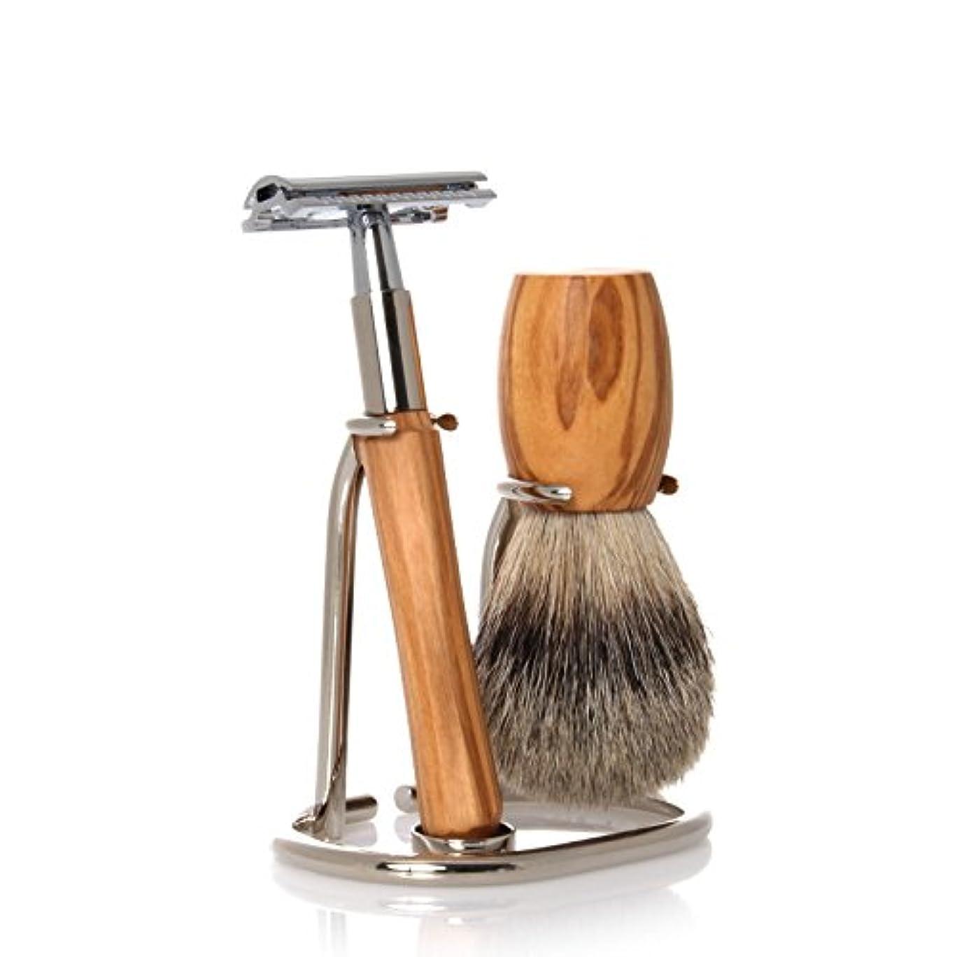 GOLDDACHS Shaving Set, Safety razor, Finest Badger, olive wood