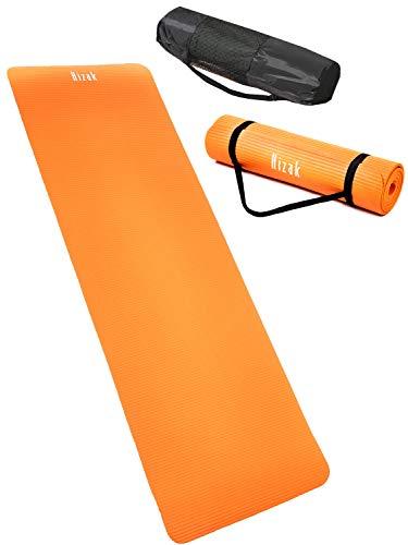 【 厚さ 10mm ヨガマット 】 Hizak トレーニングマット ストラップ 収納 ケース 付き 折りたたみ 「 筋トレ 幅広 厚手 軽量 防音 マット 」「 ピラティスマット 運動用マット Yoga Mat 」 7カラー ニトリルゴム素材 (オレンジ)