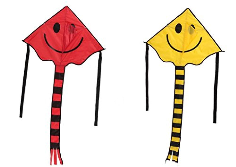 スマイリーKite Smiling Face Kite for Kids with 30 mハンドルラインアウトドアスポーツ