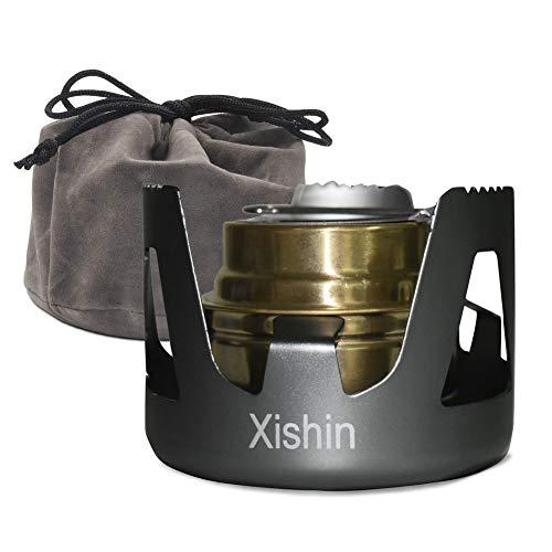 Xishin アルコールストーブ シングル アルコールバーナー セット 小型 コンパクト 軽量 アウトドア キャンプ 防災 登山 五徳付き 風防 料理用 燃料用アルコール