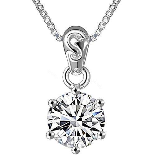 gulamu jewelry(グラムジュエリー) ネックレス レディース 大粒0.8カラット ネックレス 一粒 プラチナ仕上げ シルバー925