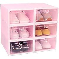 着色された透明な靴のキャビネット、防塵アセンブリシューズボックスベッドルームモールシューズストア家庭用多機能シューズラック (色 : Pink, サイズ さいず : 41 * 29 * 36CM)