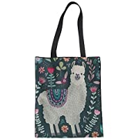 YORXINGY Floral Llama Canvas Tote Bag for Kids Girls School Beach Travel Shoulder Handbag Reusable Grocery Bags Large Durable Washable