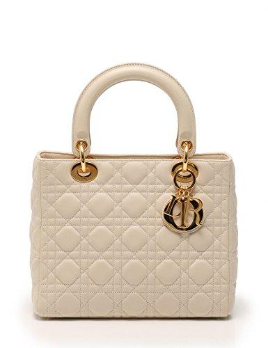 (クリスチャンディオール) Christian Dior レディディオール カナージュ ハンドバッグ レザー アイボリー 2WAY 中古