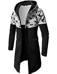 chenshiba-JP メンズカモフラージュプリントフロントジッパーフード付きロングジャケットコート
