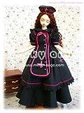 60cmドール用ドレス SDハルフリーダ・ロング ブラック×ネオンピンク s