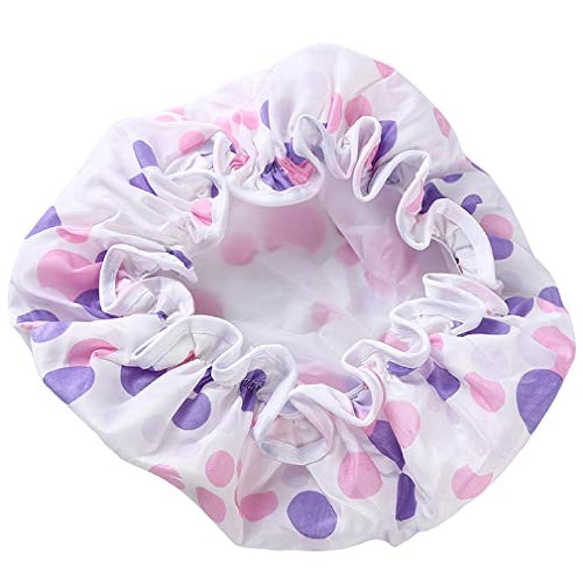 Noonlity シャワーキャップ 防水帽 髪濡れ防止 レディース ヘアーキャップ 再使用可能 お風呂 温泉 紫色