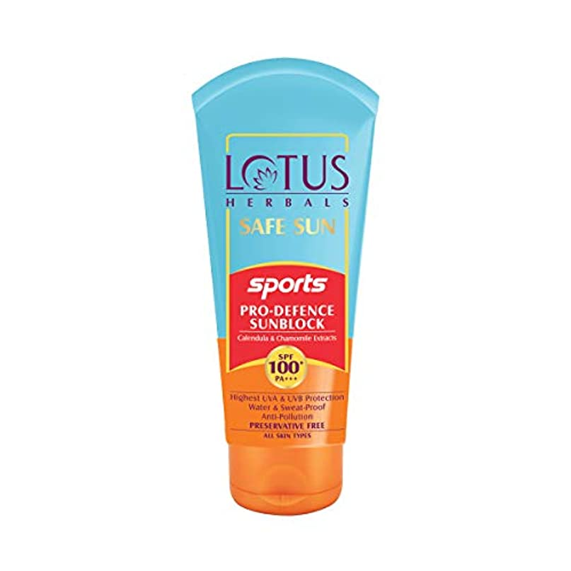 道路大西洋味付けLotus Herbals Safe Sun Sports Pro-Defence Sunblock Spf 100+ Pa+++, 80 g (Calendula and chamomile extracts)