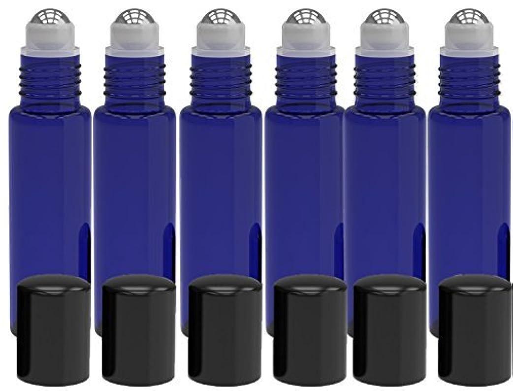 木製虐殺実質的6 Pack - Empty Roll on Glass Bottles [STAINLESS STEEL ROLLER] 10ml Refillable Color Roll On for Fragrance Essential...