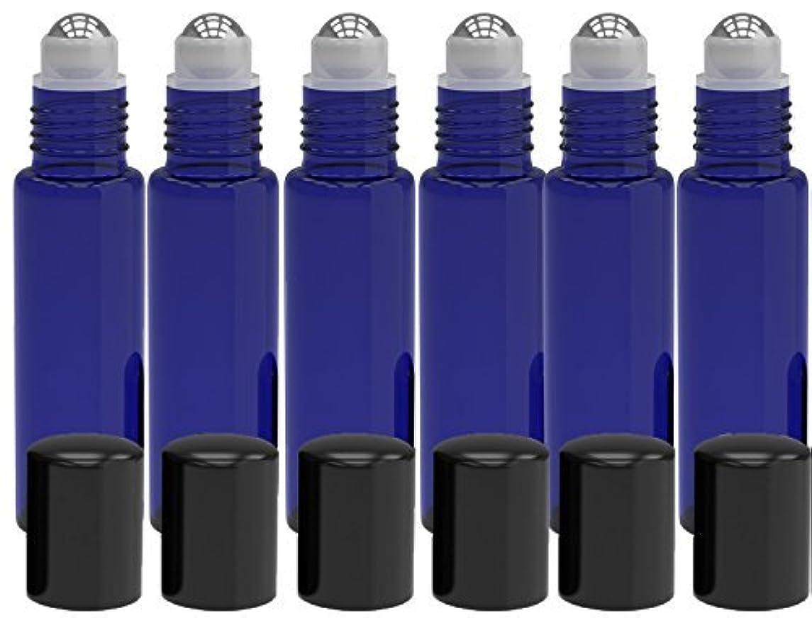 期限ところで悪党6 Pack - Empty Roll on Glass Bottles [STAINLESS STEEL ROLLER] 10ml Refillable Color Roll On for Fragrance Essential Oil - Metal Chrome Roller Ball - 10 ml 1/3 oz - Blue Color [並行輸入品]