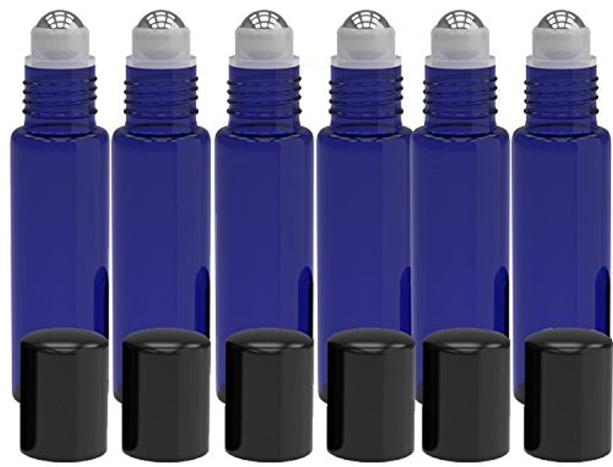 チーター報奨金犯罪6 Pack - Empty Roll on Glass Bottles [STAINLESS STEEL ROLLER] 10ml Refillable Color Roll On for Fragrance Essential...