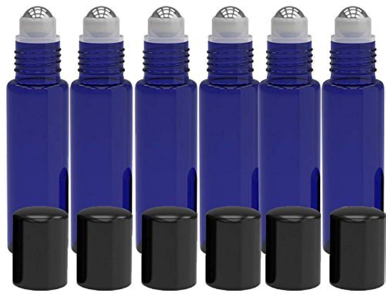 キルト黒人海里6 Pack - Empty Roll on Glass Bottles [STAINLESS STEEL ROLLER] 10ml Refillable Color Roll On for Fragrance Essential...
