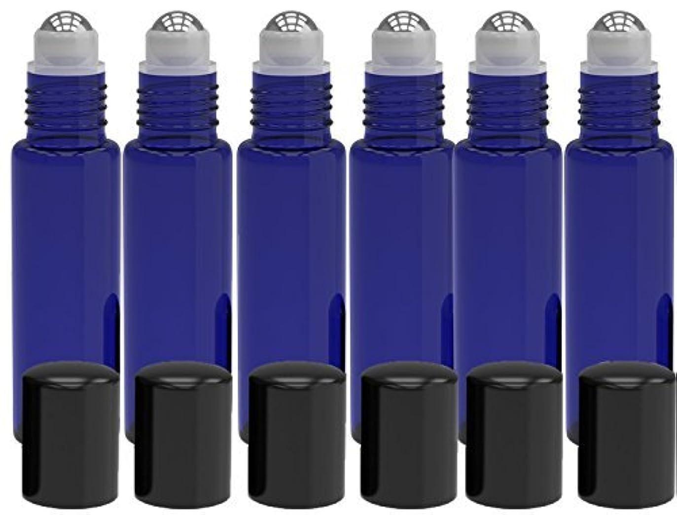 機構血色の良いひまわり6 Pack - Empty Roll on Glass Bottles [STAINLESS STEEL ROLLER] 10ml Refillable Color Roll On for Fragrance Essential...