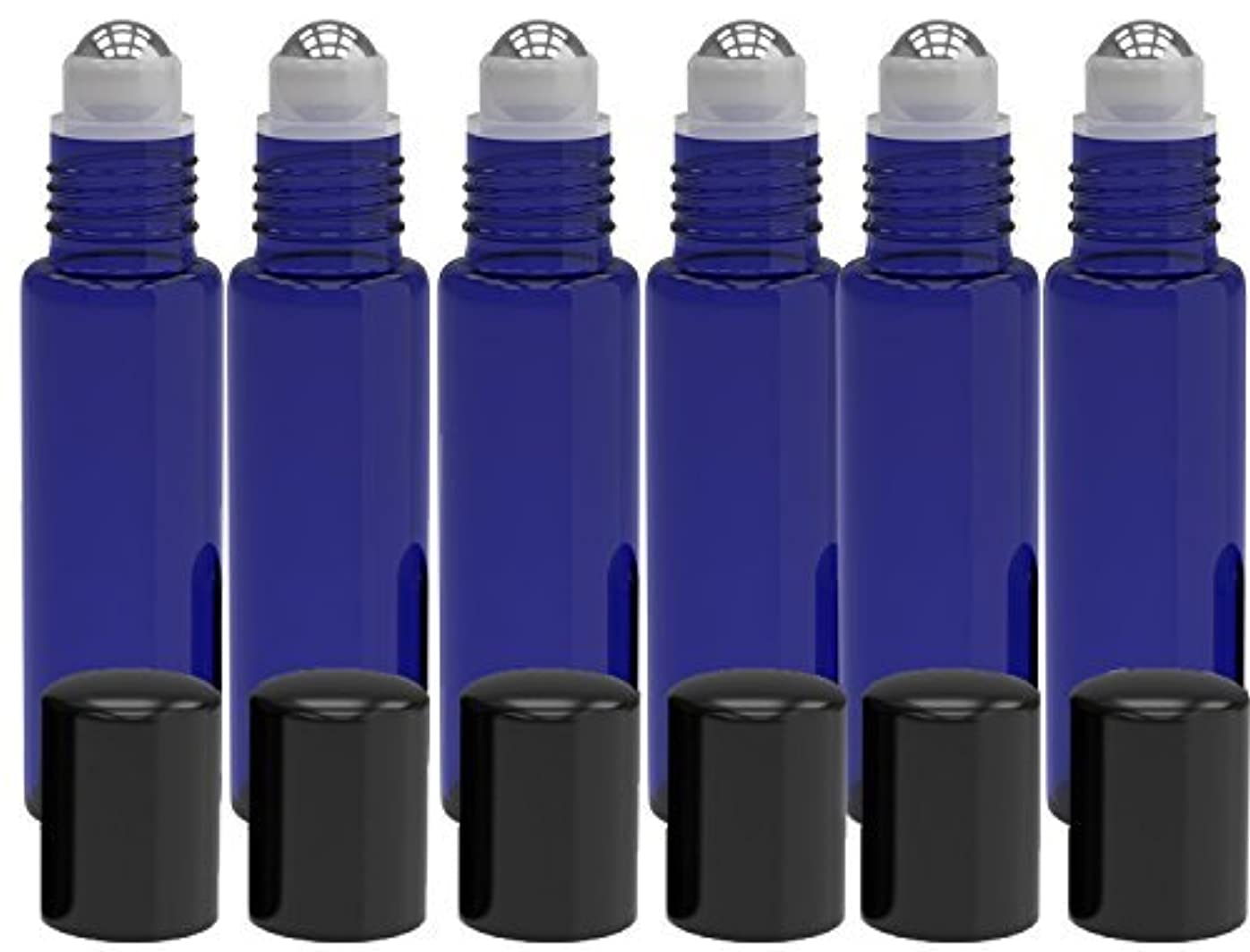 わざわざ繁雑フランクワースリー6 Pack - Empty Roll on Glass Bottles [STAINLESS STEEL ROLLER] 10ml Refillable Color Roll On for Fragrance Essential...