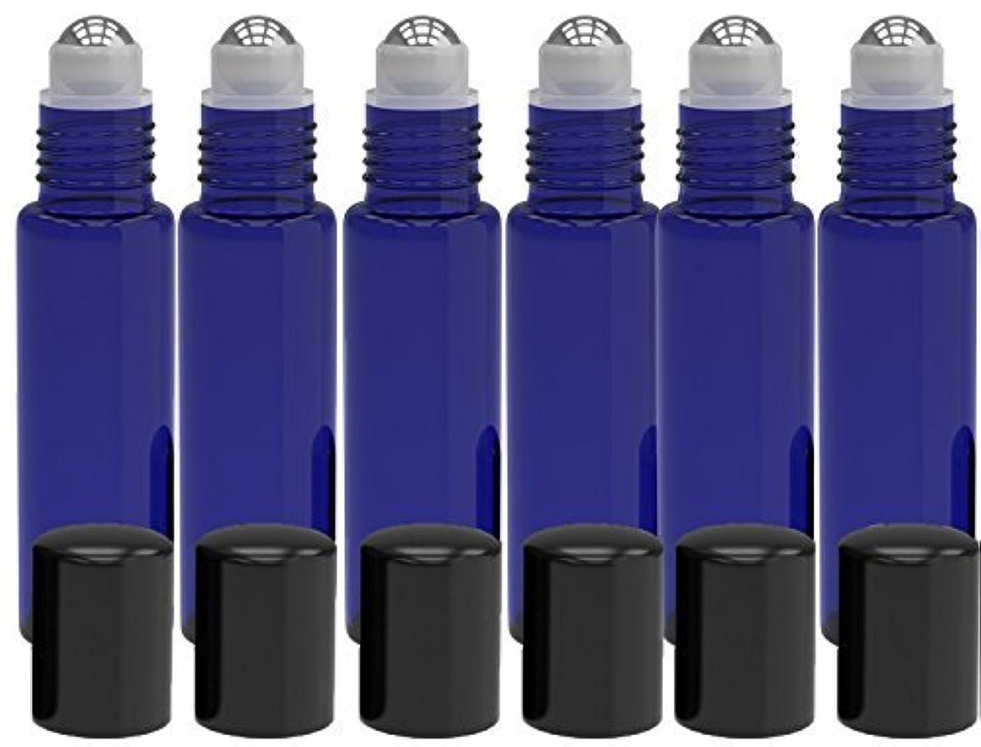 書き出す磁気農場6 Pack - Empty Roll on Glass Bottles [STAINLESS STEEL ROLLER] 10ml Refillable Color Roll On for Fragrance Essential...